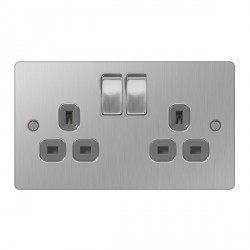 BG Nexus Flatplate Brushed Steel 13A 2 Gang Double Pole Switched Socket with Grey Insert