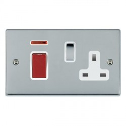 Hamilton Hartland Bright Chrome 1 Gang Double Pole 45A Red Rocker + 13A Switched Socket with White Insert