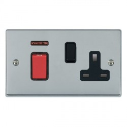 Hamilton Hartland Bright Chrome 1 Gang Double Pole 45A Red Rocker + 13A Switched Socket with Black Insert