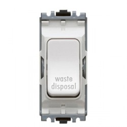 MK Electric Grid Plus White 20A Double Pole One Way Switch Module Marked 'Waste Disposal'