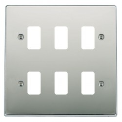 Hamilton Hartland Grid Bright Chrome 6 Gang Grid Fix Aperture Plate with Grid