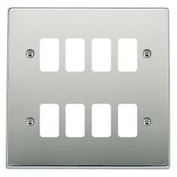 Hamilton Hartland Grid Bright Chrome 8 Gang Grid Fix Aperture Plate with Grid