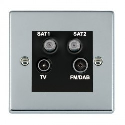Hamilton Hartland Bright Chrome TV+FM+SAT+SAT (DAB Compatible) with Black Insert