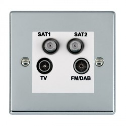 Hamilton Hartland Bright Chrome TV+FM+SAT+SAT (DAB Compatible) with White Insert