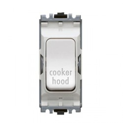 MK Electric Grid Plus White 20A Double Pole One Way Switch Module Marked 'Cooker Hood'