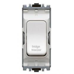 MK Electric Grid Plus White 20A Double Pole One Way Switch Module Marked 'Fridge Freezer'