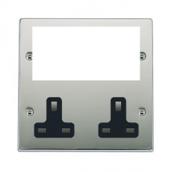 Hamilton Hartland Media Plates Bright Chrome Media Plate containing 2 Gang 13A Unswitched Socket + EURO4 aperture with Black Insert