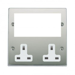 Hamilton Hartland Media Plates Bright Chrome Media Plate containing 2 Gang 13A Unswitched Socket + EURO4 aperture with White Insert