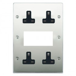 Hamilton Hartland Bright Chrome Media Plate containing 2 Gang 13A Unswitched Socket, 2 Gang 13A Unswitched Socket, EURO4 aperture with Black Insert