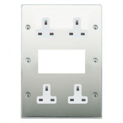 Hamilton Hartland Bright Chrome Media Plate containing 2 Gang 13A Unswitched Socket, 2 Gang 13A Unswitched Socket, EURO4 aperture with White Insert