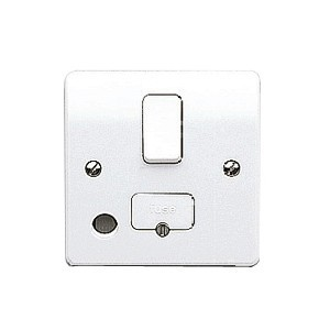 MK Electric Logic Plus™ White 13A Double Pole Switched Fused Connection Unit with Front Flex Outlet