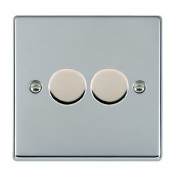 Hamilton Hartland Bright Chrome Push On/Off Dimmer 2 Gang 2 way Inductive 200VA with Bright Chrome Insert