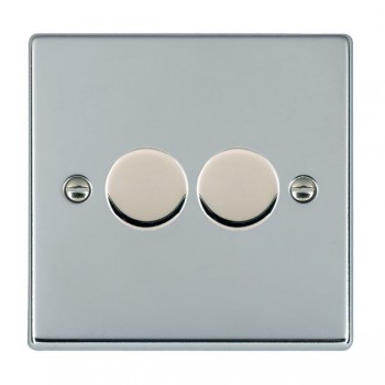 Hamilton Hartland Bright Chrome Push On/Off Dimmer 2 Gang 2 way 400W with Bright Chrome Insert