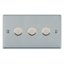 Hamilton Hartland Bright Chrome Push On/Off Dimmer 3 Gang 2 way 400W with Bright Chrome Insert