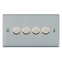 Hamilton Hartland Bright Chrome Push On/Off Dimmer 4 Gang 2 way 400W with Bright Chrome Insert
