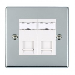 Hamilton Hartland Bright Chrome 2 Gang RJ12 Outlet Unshielded with White Insert