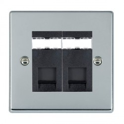 Hamilton Hartland Bright Chrome 2 Gang RJ45 Outlet Cat 5e Unshielded with Black Insert