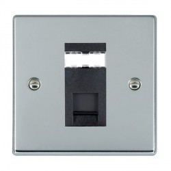 Hamilton Hartland Bright Chrome 1 Gang RJ45 Outlet Cat 5e Unshielded with Black Insert