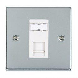 Hamilton Hartland Bright Chrome 1 Gang RJ45 Outlet Cat 5e Unshielded with White Insert