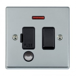 Hamilton Hartland Bright Chrome 1 Gang 13A Fused Spur, Double Pole + Neon + Cable Outlet with Black Insert