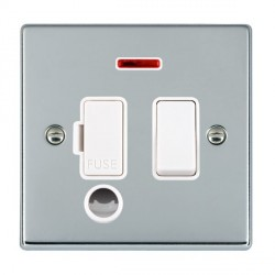 Hamilton Hartland Bright Chrome 1 Gang 13A Fused Spur, Double Pole + Neon + Cable Outlet with White Insert