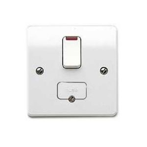 MK Electric Logic Plus™ White 13A Double Pole Switched Fused Connection Unit with Neon