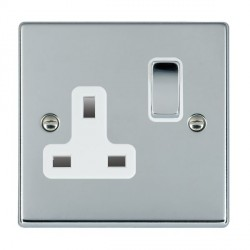 Hamilton Hartland Bright Chrome 1 Gang 13A Switched Socket - Double Pole with White Insert