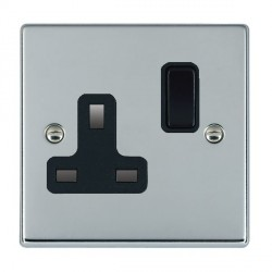 Hamilton Hartland Bright Chrome 1 Gang 13A Switched Socket - Double Pole with Black Insert