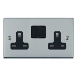 Hamilton Hartland Bright Chrome 2 Gang 13A Switched Socket - Double Pole with Black Insert