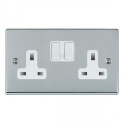 Hamilton Hartland Bright Chrome 2 Gang 13A Switched Socket - Double Pole with White Insert
