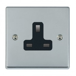 Hamilton Hartland Bright Chrome 1 Gang 13A Unswitched Socket with Black Insert