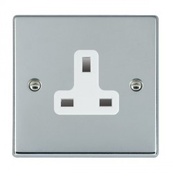 Hamilton Hartland Bright Chrome 1 Gang 13A Unswitched Socket with White Insert