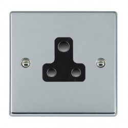 Hamilton Hartland Bright Chrome 1 Gang 5A Unswitched Socket with Black Insert