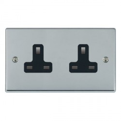 Hamilton Hartland Bright Chrome 2 Gang 13A Unswitched Socket with Black Insert