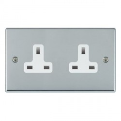 Hamilton Hartland Bright Chrome 2 Gang 13A Unswitched Socket with White Insert