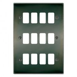 Hamilton Hartland Grid Black Nickel 12 Gang Grid Fix Aperture Plate with Grid