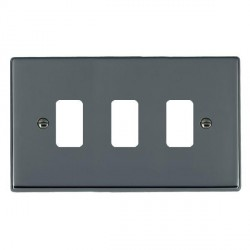 Hamilton Hartland Grid Black Nickel 3 Gang Grid Fix Aperture Plate with Grid