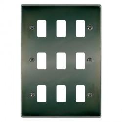 Hamilton Hartland Grid Black Nickel 9 Gang Grid Fix Aperture Plate with Grid