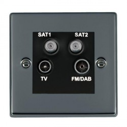 Hamilton Hartland Black Nickel TV+FM+SAT+SAT (DAB Compatible) with Black Insert