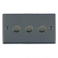 Hamilton Hartland Black Nickel Push On/Off Dimmer 3 Gang 2 way 400W with Black Nickel Insert