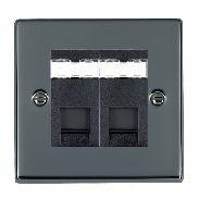 Hamilton Hartland Black Nickel 2 Gang RJ45 Outlet Cat 5e Unshielded with Black Insert