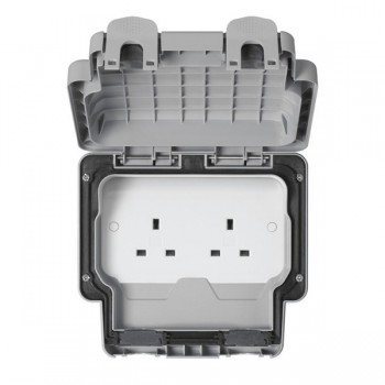 MK Electric Masterseal Plus™ Grey 13A 2 Gang Unswitched IP66 Socket