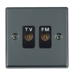 Hamilton Hartland Black Nickel 2 Gang Isolated Television/FM 1in/2out with Black Insert