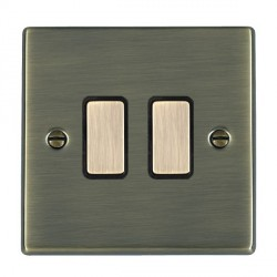 Hamilton Hartland Antique Brass 2 Gang Multi way Touch Master Trailing Edge with Black Insert
