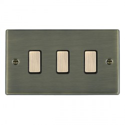 Hamilton Hartland Antique Brass 3 Gang Multi way Touch Master Trailing Edge with Black Insert