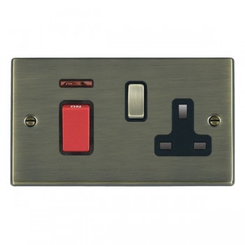 Hamilton Hartland Antique Brass 1 Gang Double Pole 45A Red Rocker + 13A Switched Socket with Black Insert