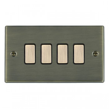 Hamilton Hartland Antique Brass 4 Gang Multi way Touch Master Trailing Edge with Black Insert