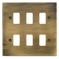 Hamilton Hartland Grid Antique Brass 6 Gang Grid Fix Aperture Plate with Grid