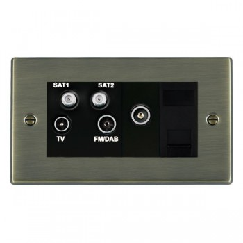 Hamilton Hartland Antique Brass TV+FM+SAT+SAT+TV+TCS (DAB Compatible) with Black Insert