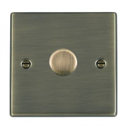 Hamilton Hartland Antique Brass Push On/Off Dimmer 1 Gang 2 way Inductive 200VA with Antique Brass Insert
